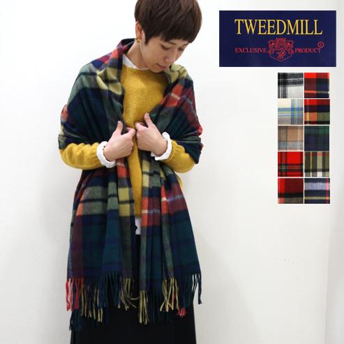 TWEEDMILL【ツイードミル】ウールタータンチェックピン付き大判ストール 70-190