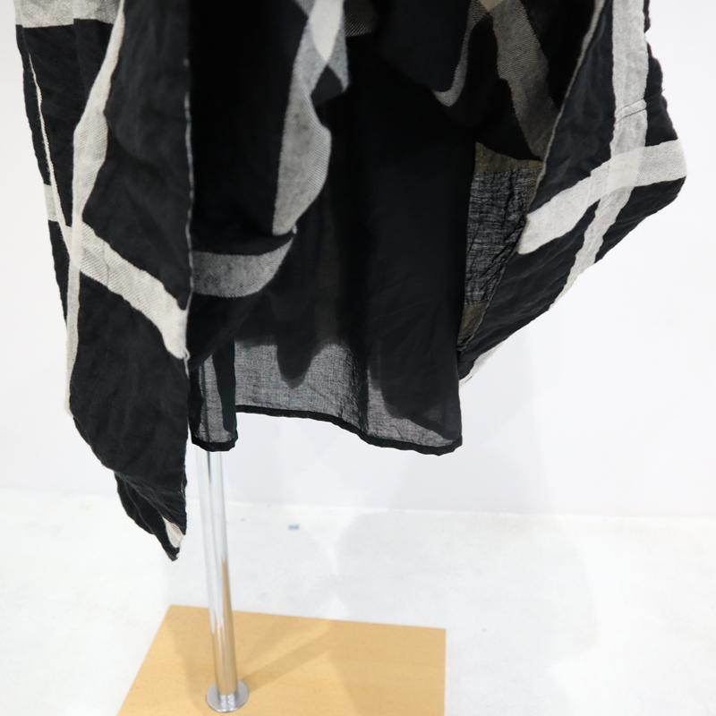 ICHI Antiquites イチアンティークス ラティスチェックリネンコットンロングスカート 601212