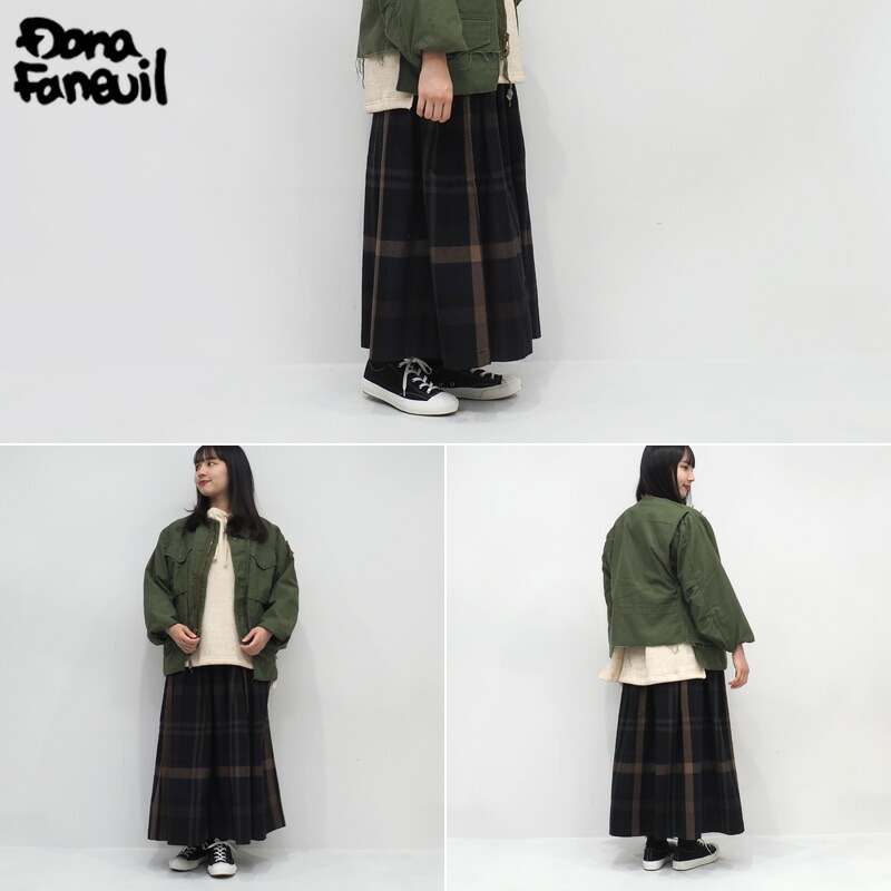 Dana Faneuil ダナファヌル ビッグチェックギャザースカート D8320402