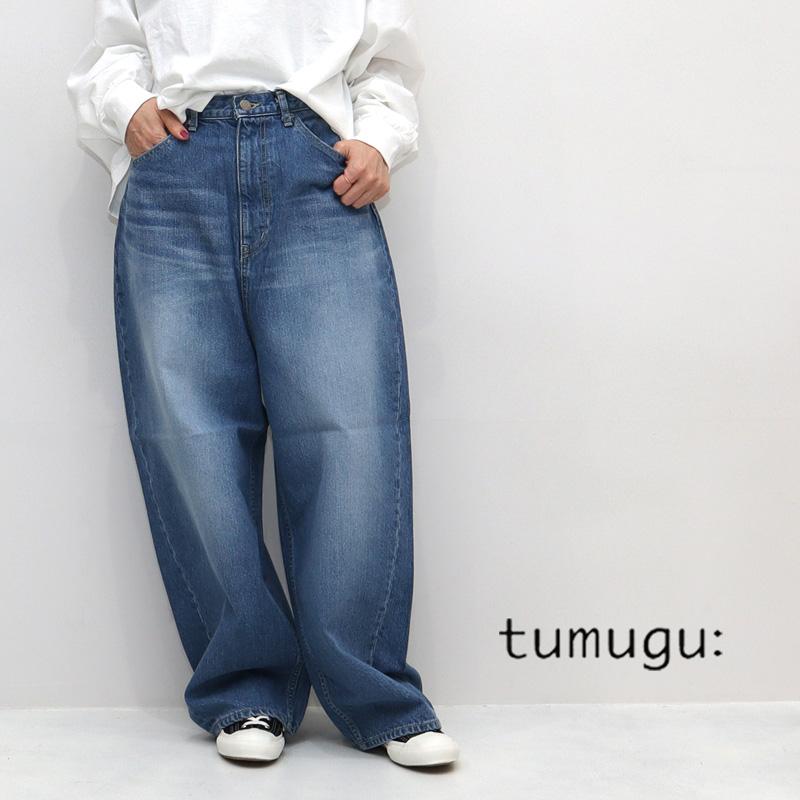 tumugu ツムグ 12ozヴィンテージデニム ワイドパンツ TB19140-C TB19140