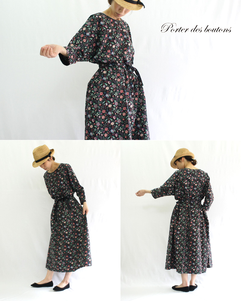 Porter des boutons【ポルテデブトン】パイピングドレス P-19145