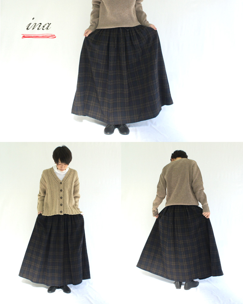 ina【イナ】 共紐付き前タック後ろゴムギャザースカート 195197