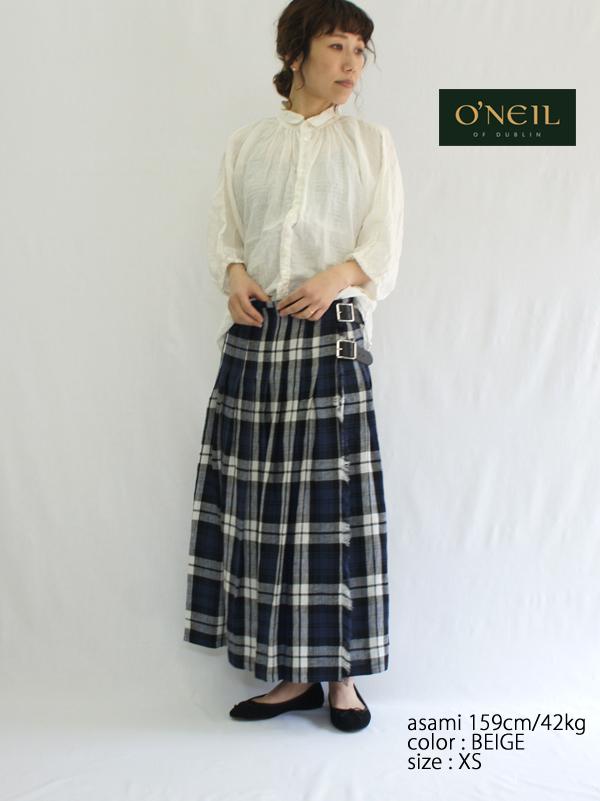 O'NEIL OF DUBLIN オニールオブダブリン LOW WAIST PLEATS WRAP SKIRT WITH PIN リネンロング丈キルトスカート NOD0901