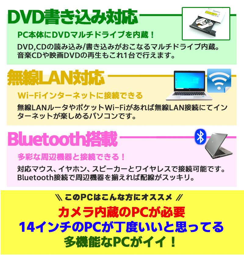 中古ノートパソコン Microsoft Office搭載 EPSON Endeavor NY2400S-Z Windows10Pro Corei5 4210M メモリ8GB HDD500GB DVDマルチ 14型 無線LAN (1933of) 3ヵ月保証 / 中古パソコン