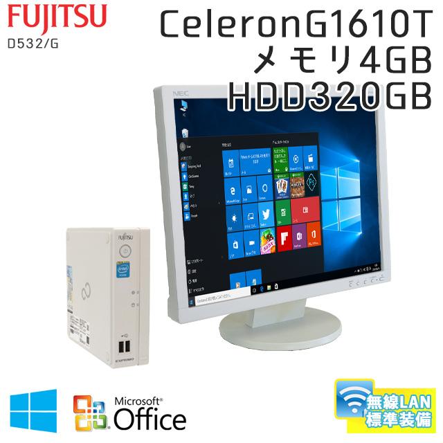 中古パソコン 【 Microsoft Office ( Word Excel )搭載】 Windows10 富士通 ESPRIMO B532/G Celeron2.3Ghz メモリ4GB HDD320GB 無線LAN 【ウルトラスモールデスク】 [19型液晶付き] (SF30-10WiL19of) 3ヵ月保証 中古デスクトップパソコン