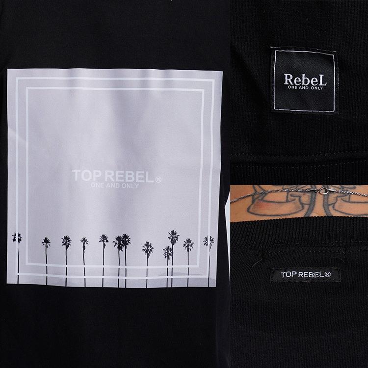 【SALE】RebeL Palm Tree Photo Hem Rib Tシャツ