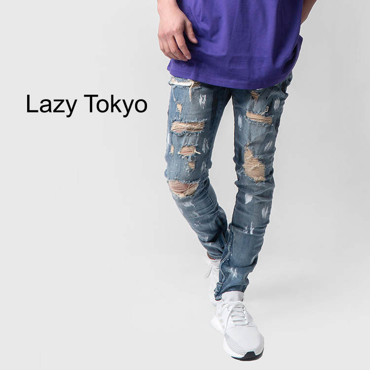 【SALE】Lazy Tokyo Hard Crash Painted Hem Zipデニム