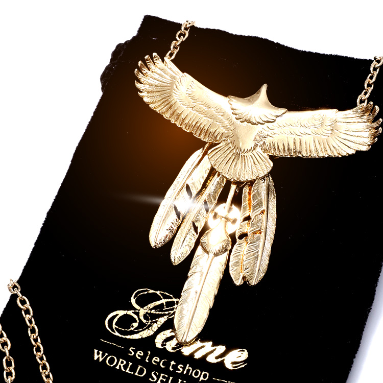 【SALE】game WORLD SELECTION Full Gold Eagle Fetherネックレス
