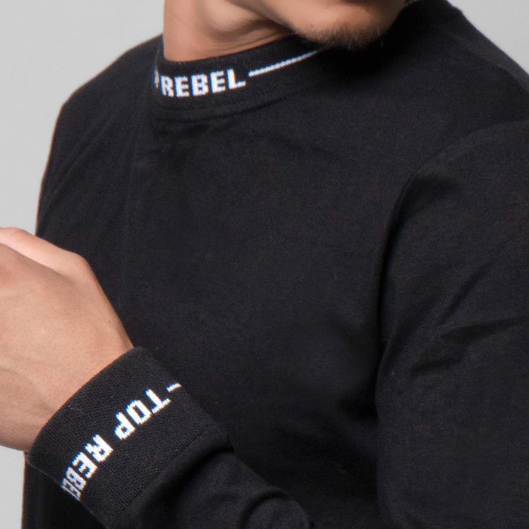 【SALE】RebeL Logo RibクルーネックロンT
