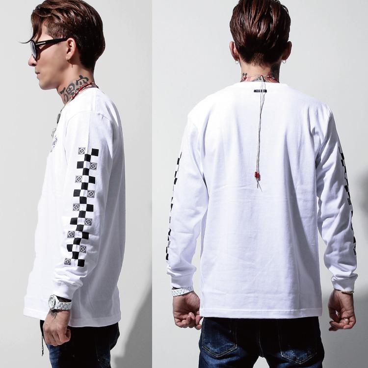 【SALE】RebeL Sleeve Checkered FlagロンT