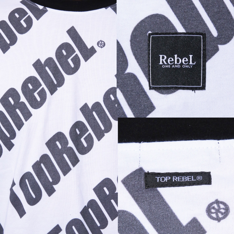 【SALE】RebeL Slanting Logo七分袖Tシャツ