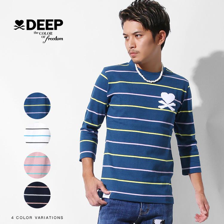 【SALE】DEEP Color Border七分袖Tシャツ