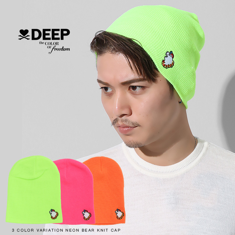 【SALE】DEEP Neon Bear embroideryニットキャップ