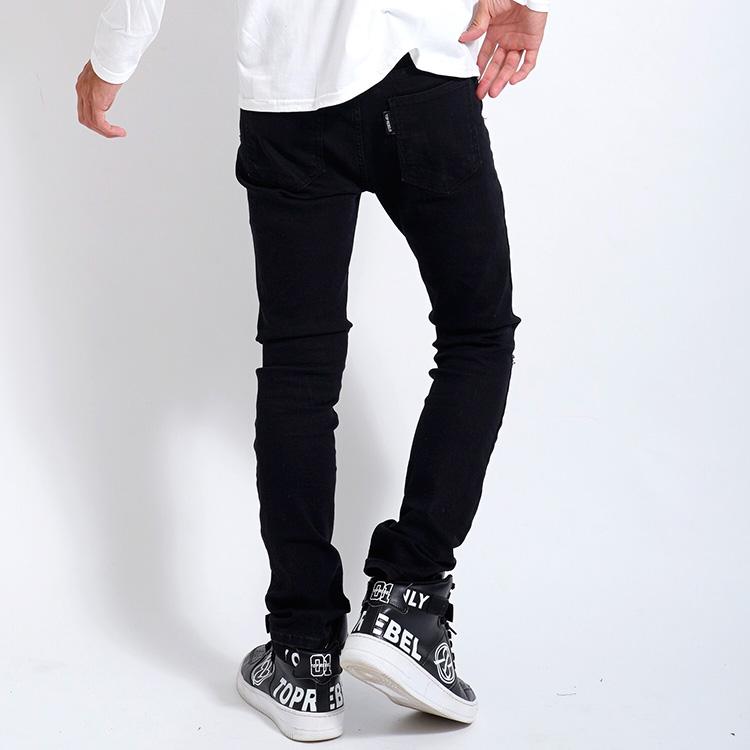 【SALE】RebeL  Knee Crash Stretchブラックチノパン