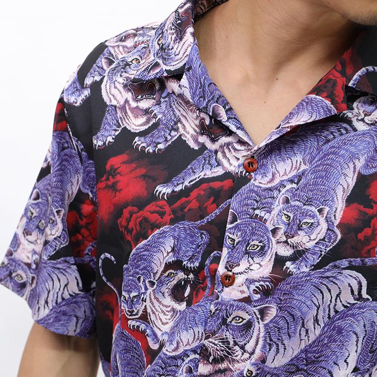 【SALE】Lazy Tokyo Tiger Patternオープンカラー半袖シャツ