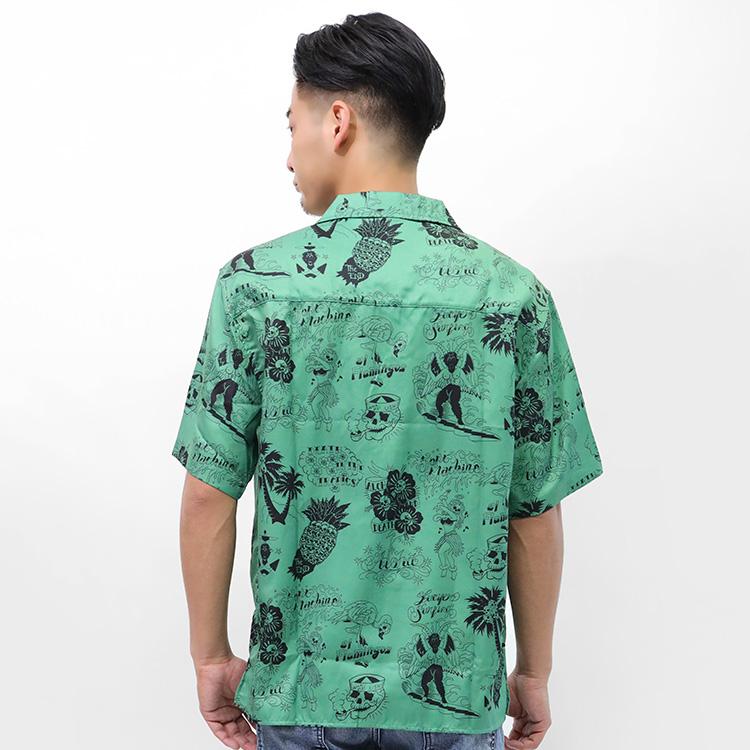 【SALE】Lazy Tokyo Skull Alohaオープンカラー半袖シャツ