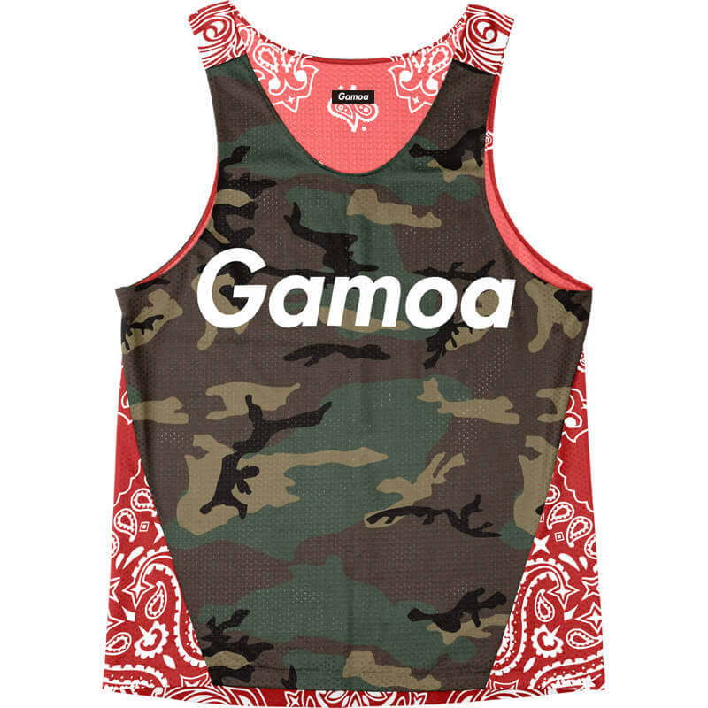 Singlet Camouflage Red Paisley