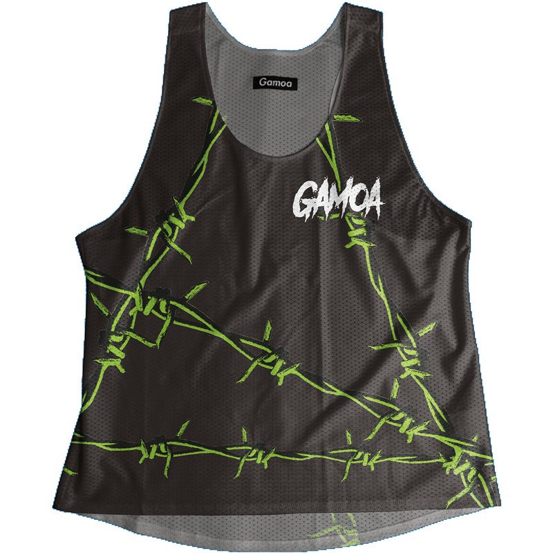 Singlet Black×Green Barbed wire Ladies