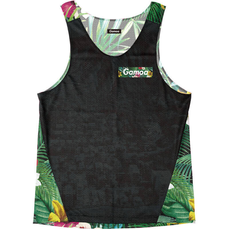 Singlet Black Tropical Box Logo
