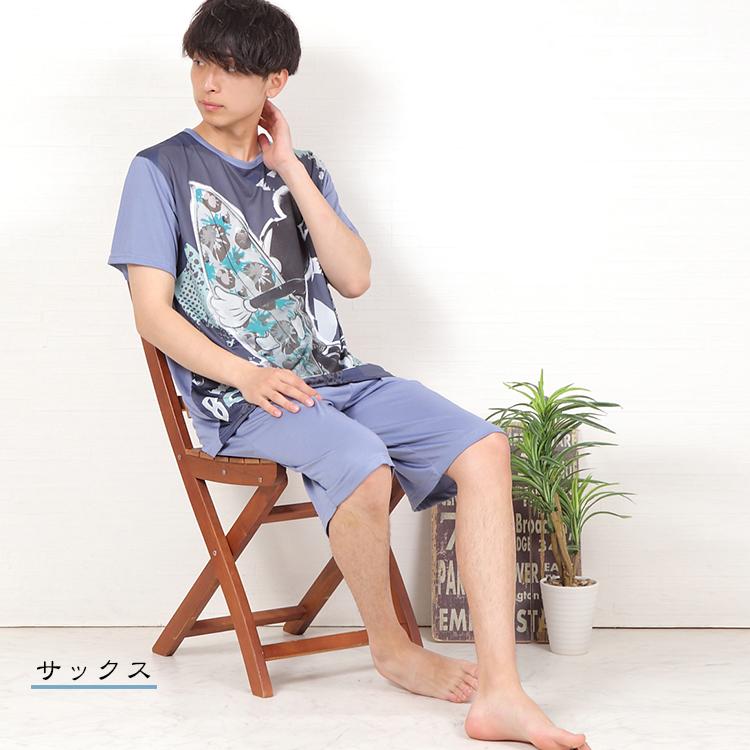 【送料無料】【LOGOS】先染めサッカー 小紋柄 テーラーカラー メンズパジャマ  父の日
