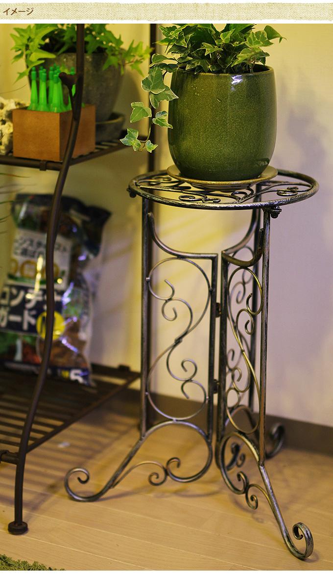 優美な猫脚花台 フラワースタンドアイアン 雑貨 ガーデニング/アンティーク ガーデニング雑貨/花台/室内/ポールスタンド/アームスタンド/コーナーラック/玄関/