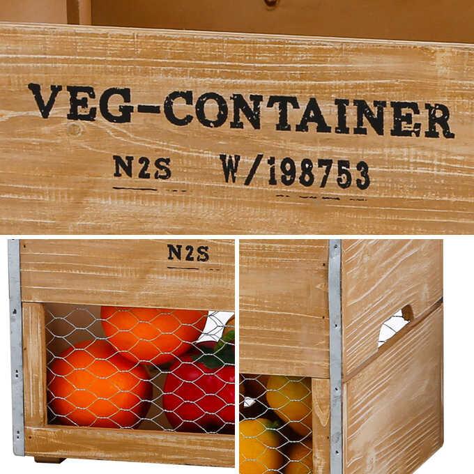 かわいい八百屋 VEG ウッドボックス L 木製ガーデニング雑貨/おしゃれ/収納 木箱/