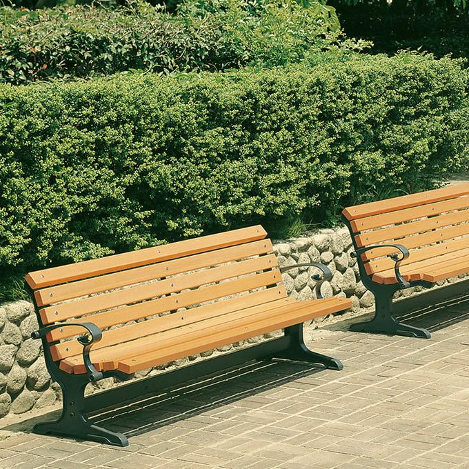 公園木製ベンチ 背もたれ 肘掛け 幅190cm 業務用 ベンチ 木製ガーデンベンチ/公園 広場/待合 施設/ウッドベンチ/休憩所/アウトドア/耐久性/丈夫/病院/