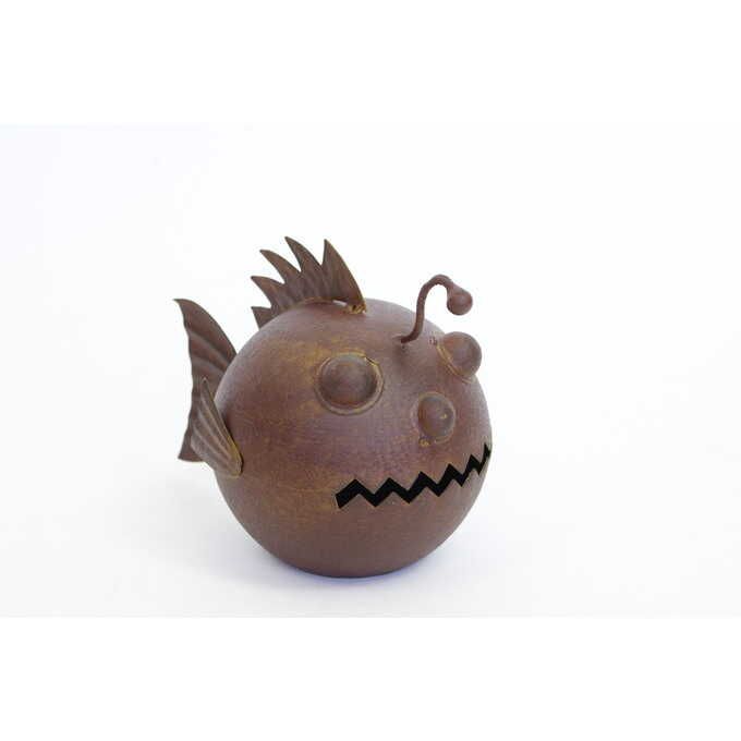 ガーデニング雑貨 ブリキ 深海魚 チョウチンアンコウ ガーデン 雑貨魚 置物/おしゃれ かわいい/ガーデニング/海 生物/生き物/