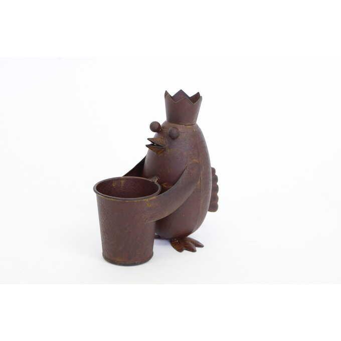 ガーデニング雑貨 ブリキ ペンギン 王様 鉢を抱える ガーデン 雑貨置物/おしゃれ かわいい/ガーデニング/