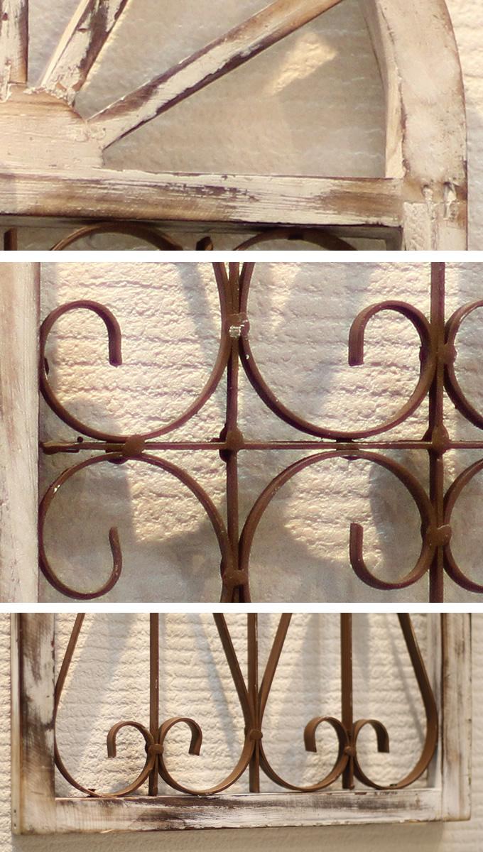 木製 ウィンドウフレームオーナメント Lサイズ アンティーク置物 飾り/オシャレ おしゃれ/ディスプレイ/ショップデザイン/窓型/ガーデン/ガーデニング/エクステリア/
