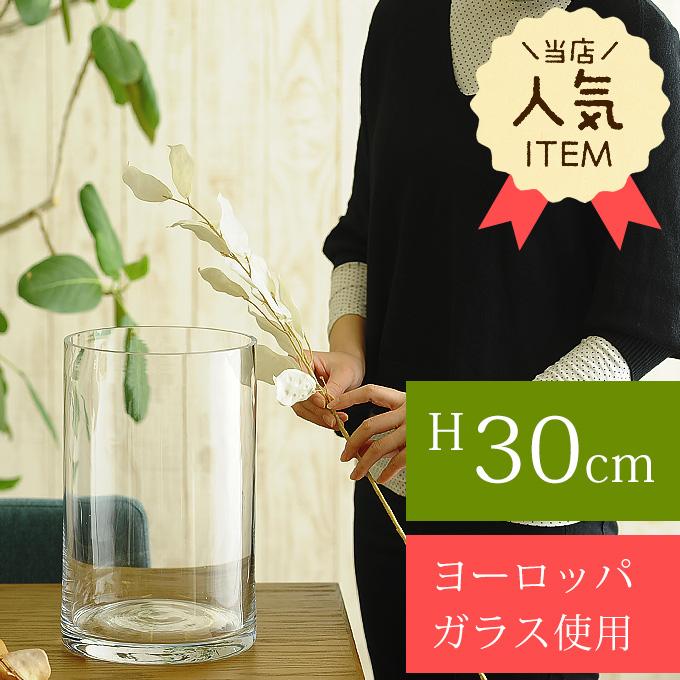 花瓶 ガラス EUROグラス 直径19×高さ30cm クリアー フラワーベース大きな/北欧 ヨーロッパ/シンプル 円柱/花器/透明/大きい 大型/おしゃれ/