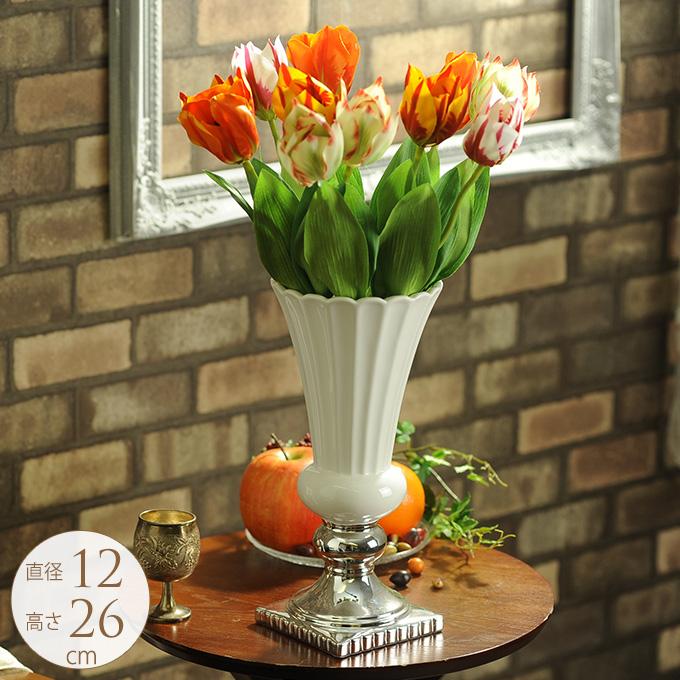 欧州貴族のフラワーベース M ホワイト 北欧 花瓶白色 陶器 白い/かわいい 花器/プランターポット/ヨーロピアン/西洋/おしゃれ/インテリア/エレガント 優美/美しい/