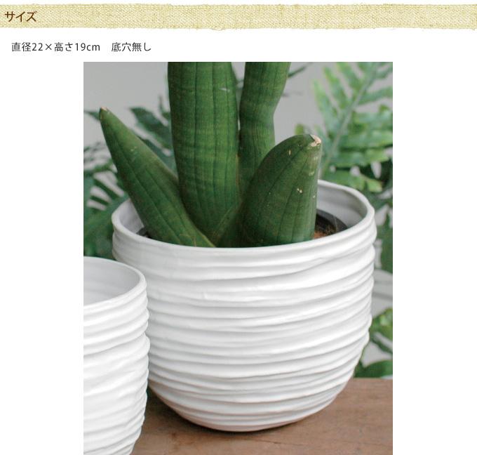セラミックポット ストライプス Ro L  陶器鉢 ホワイトフラワーポット 白/セラミック 花器/6号/植木鉢/プランター/観葉植物/