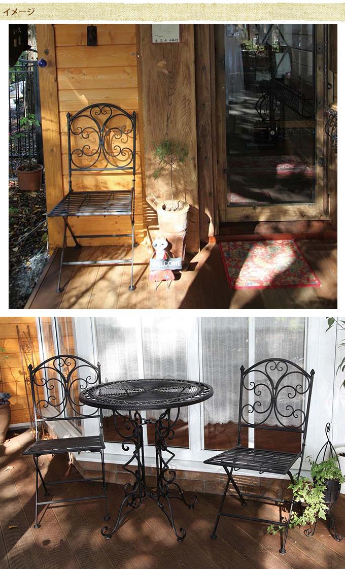 西洋ガーデン アイアンチェア ガーデンチェアアイアン/ブラック 屋外/円形/ガーデニング/ベランダ/バルコニー/シック/庭/