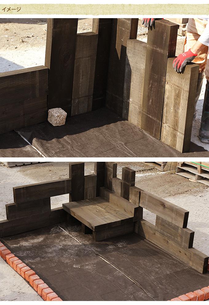 国産ガーデン枕木 60cm 2本セット 枕木 ガーデニング国産 木製/花壇 ウッドステップ/土留/フラワーフェンス/庭/長持ち/軽い/
