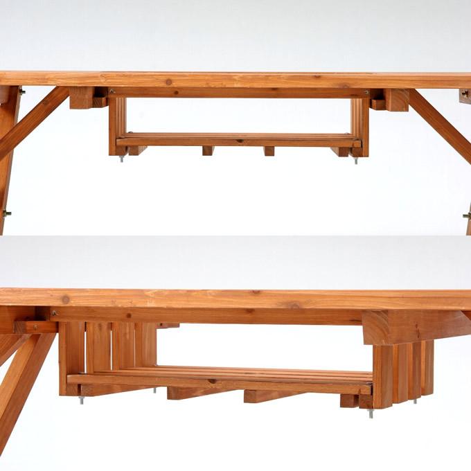 ガーデンテーブル 3点 セット 木製  (テーブル1、ベンチ2) 屋外 ガーデニングテーブル セット/パラソル穴/庭 アウトドア/ベランダ バルコニー/カントリー/