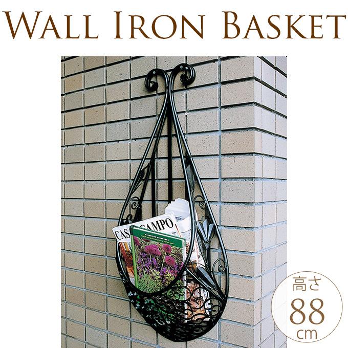 壁掛けアイアンプランターバスケット type2 壁掛け プランターアイアン/バスケット/花台/ウォール/装飾/エクステリア/カゴ/アミ/