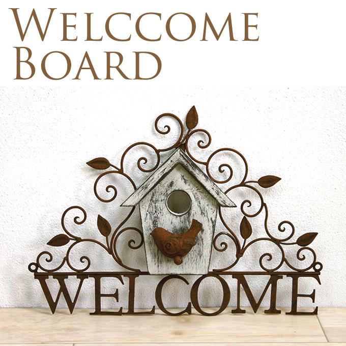 小鳥のウェルカムボード アンティーク壁掛け/ウェルカムプレート/アイアン/雑貨/welcome/バードハウス/鳥小屋/ガーデニング/エクステリア/