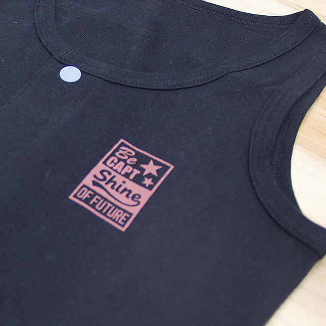 【男の子】子供用介護肌着 前開きタイプタンクトップ  黒/ワンポイントロゴ付 120〜160cm 【綿100%】