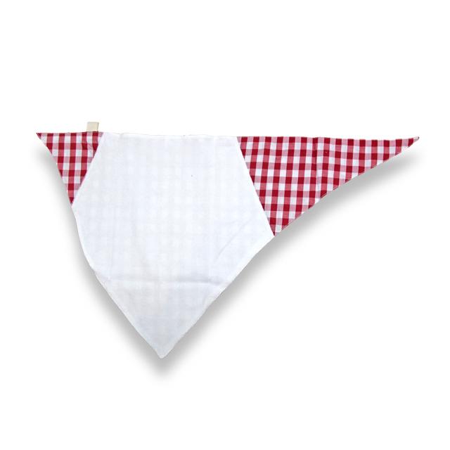 【男女兼用】子供用介護肌着 バンダナ風スタイ  赤色/チェック フリーサイズ 【綿100%】
