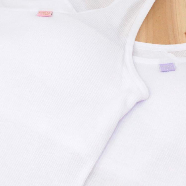 【女の子】カップ付きインナーブラトップ ソフトカップ入り 2枚組 白/シンプル 150〜165cm【吸水速乾】