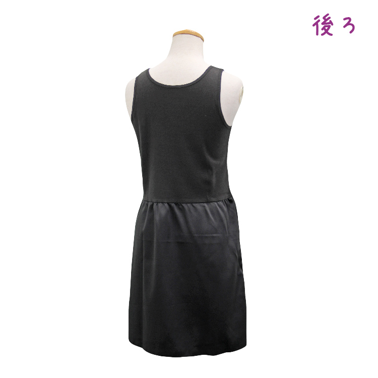 【女の子】ラン型スリップ 黒/リボン付き 110〜165cm【上部綿100%】