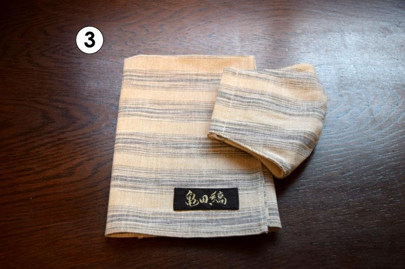 亀田縞 ハンカチ・立体マスクの各セット
