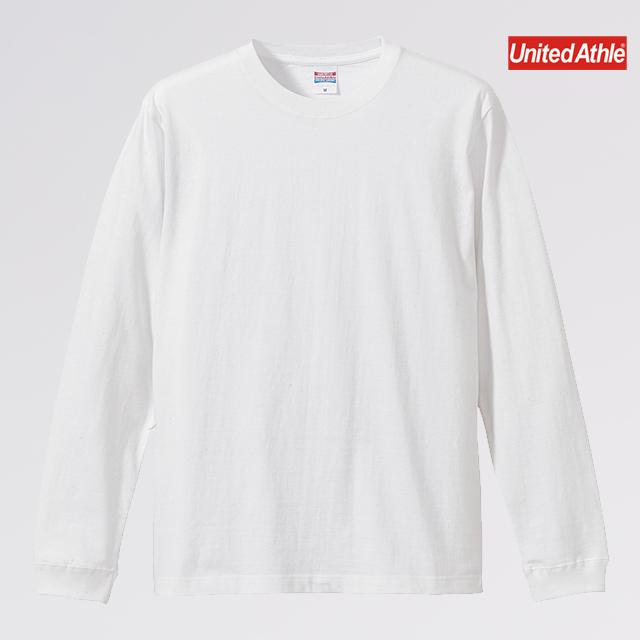 5.6オンス ロングスリーブ Tシャツ(1.6インチリブ)( 001 ホワイト )