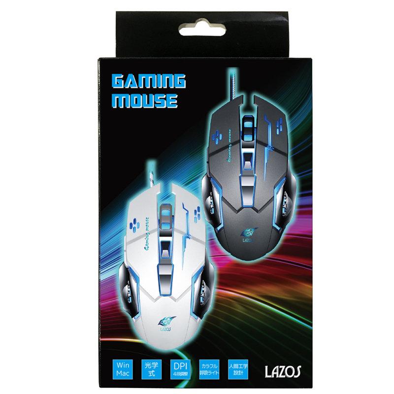 光学式ゲーミングマウス【Lazos L-MS-G】DPI4段調整・有線・ブラック