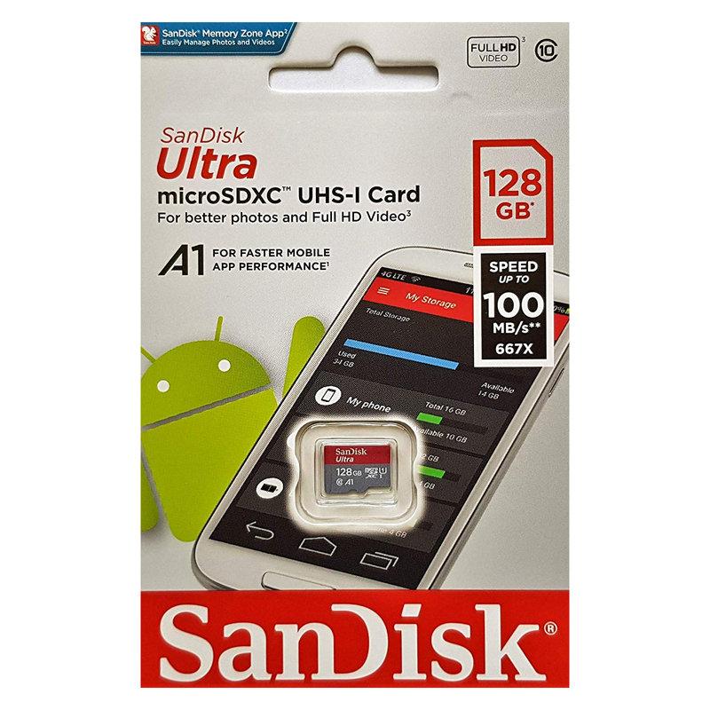 サンディスクULTRA 128GB【microSDXCカードSDSQUAR-128G-GN6MN】A1・Class10・UHS-I・最大R=100MB/s