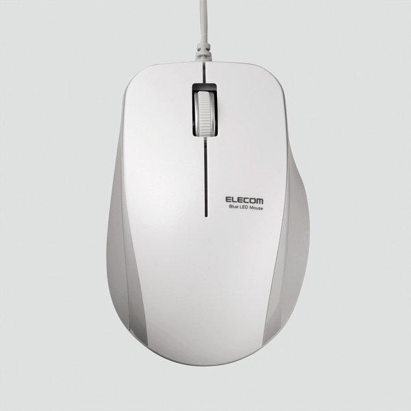 エレコム光学式USBマウス【M-BL27UBSWH】静音3ボタン・有線BlueLEDマウス