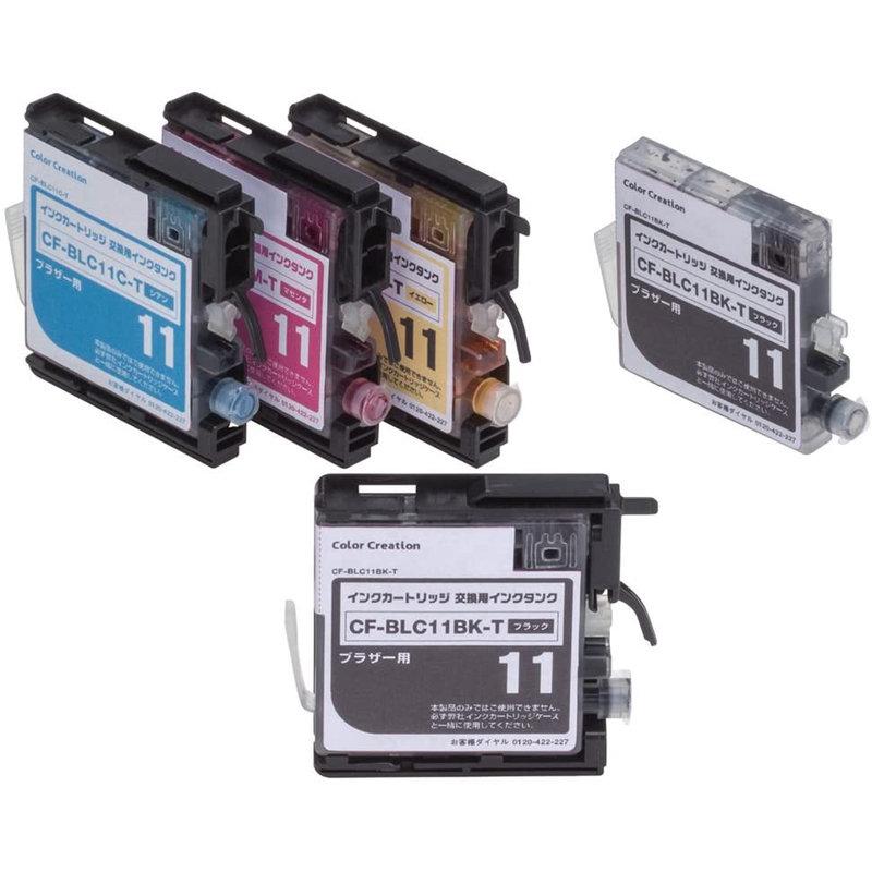 ブラザーLC11-4PK互換インク全色【CF-BLC11-4PK+T1】カートリッジセット+黒1個おまけ・専用カートリッジ付