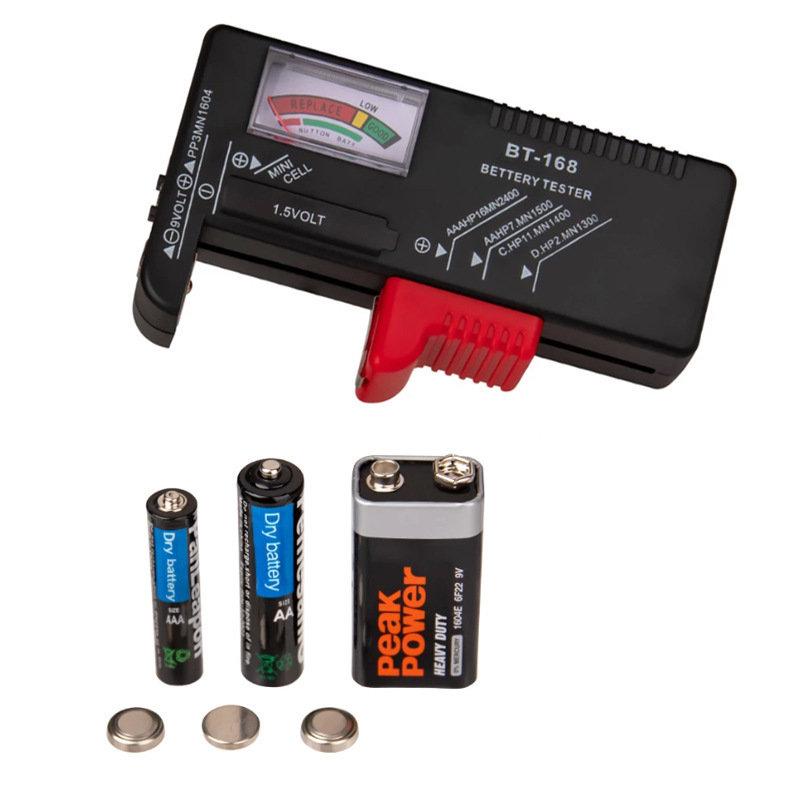 あると便利!アナログ式【乾電池チェッカーBT-168】単1〜5&9V形乾電池・ボタン電池1.5Vの測定が可能