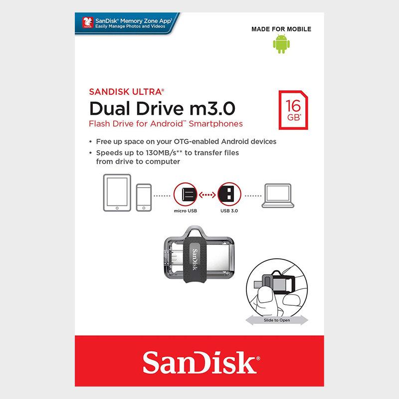 サンディスクAndroid対応16GB【USBメモリSDDD3-016G-G46】OTG・USB3.0・R=130MB/s